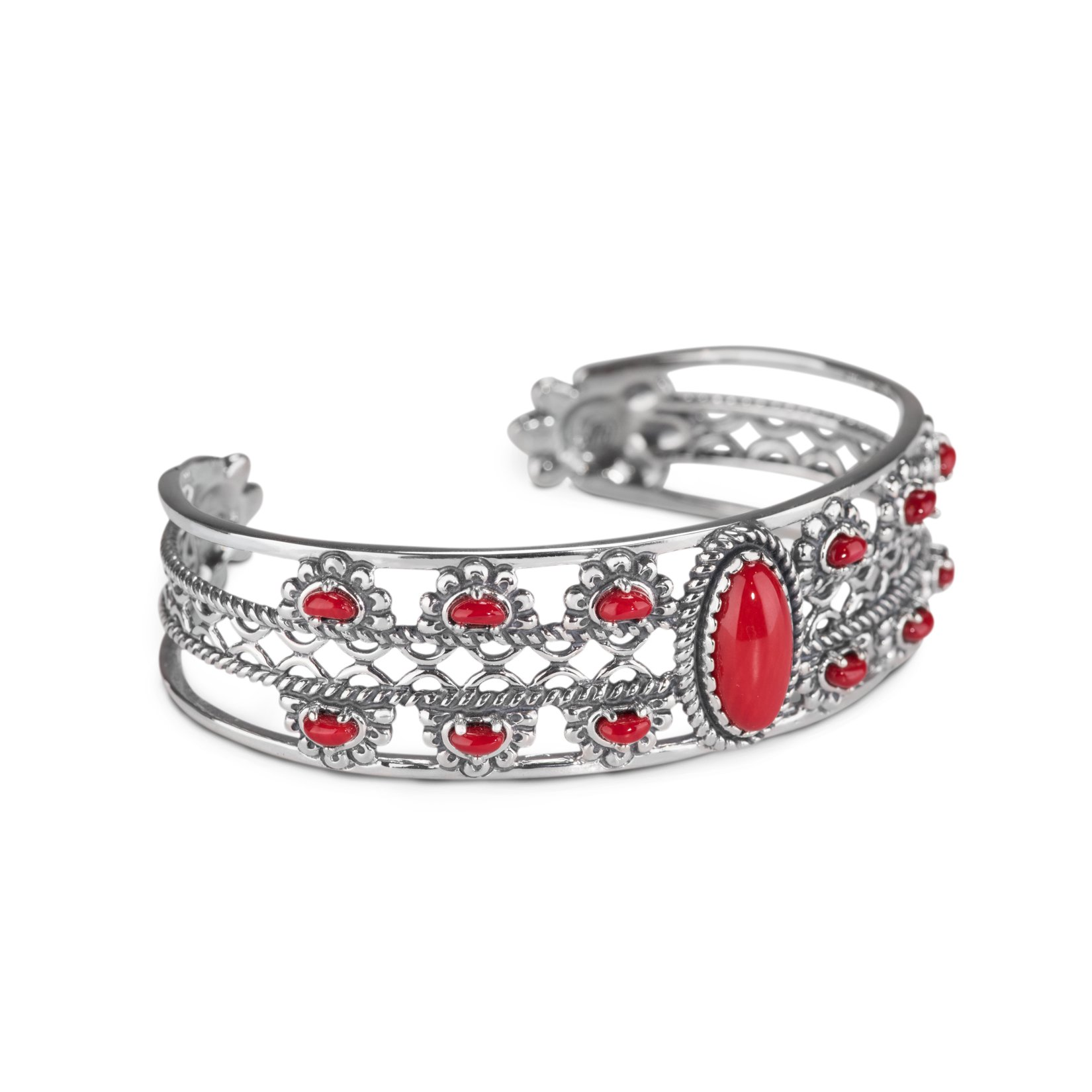 American West Sterling Silver Red Coral Floral Cuff Bracelet, Average