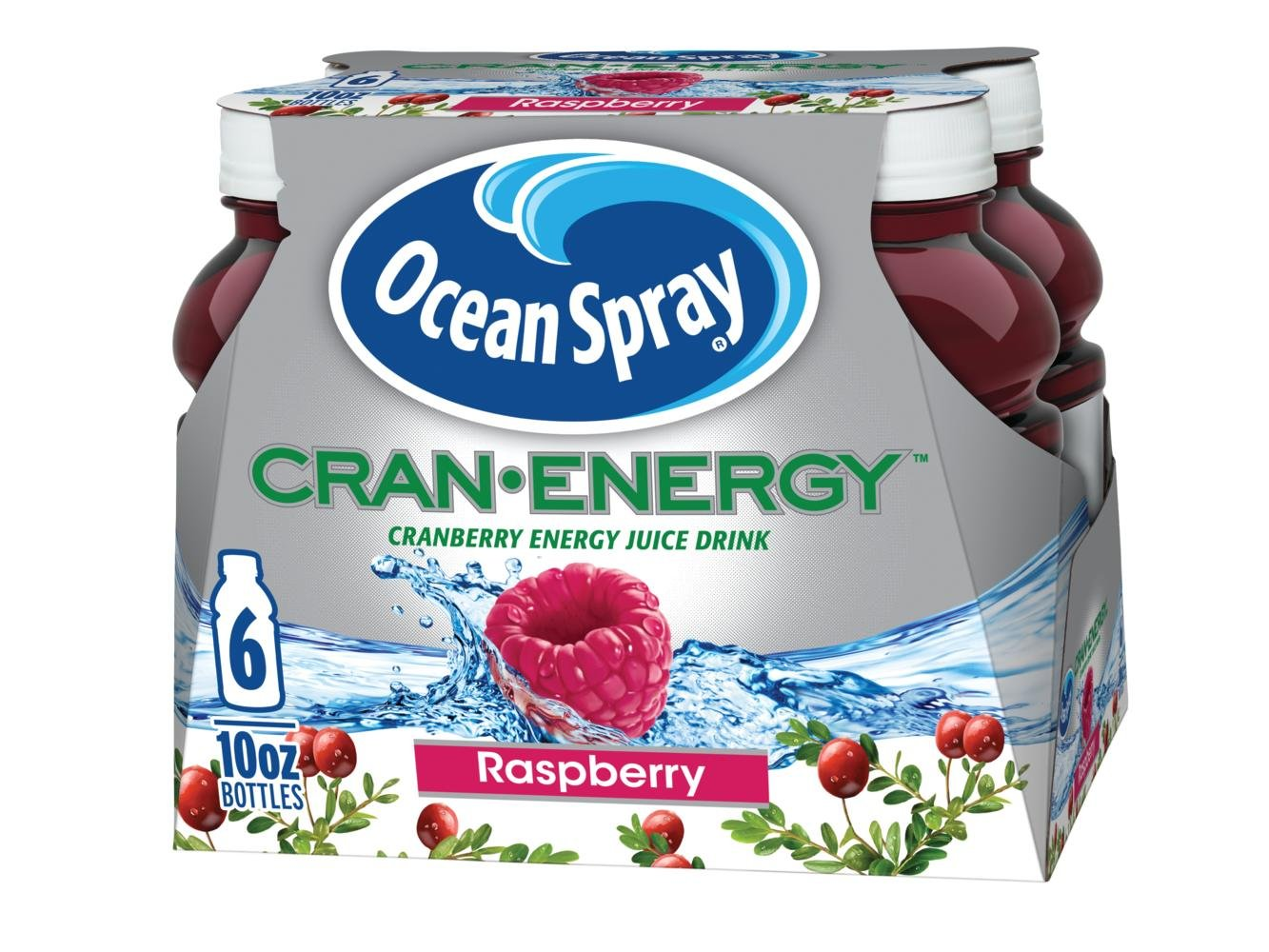 Ocean Spray Cran-Energy, Cranberry Raspberry Energy Juice Drink, 10 Ounce Bottle (Pack of 6)