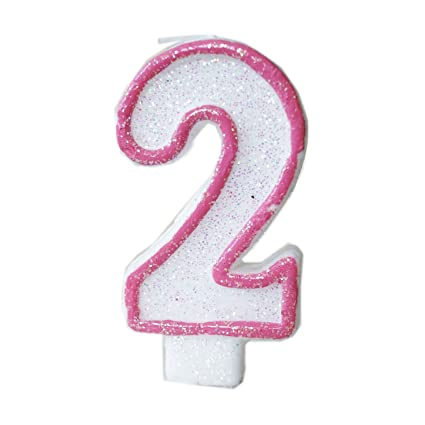 Amazon Pink Glitter Sprinkles 2 Number Candle White Premium 2nd