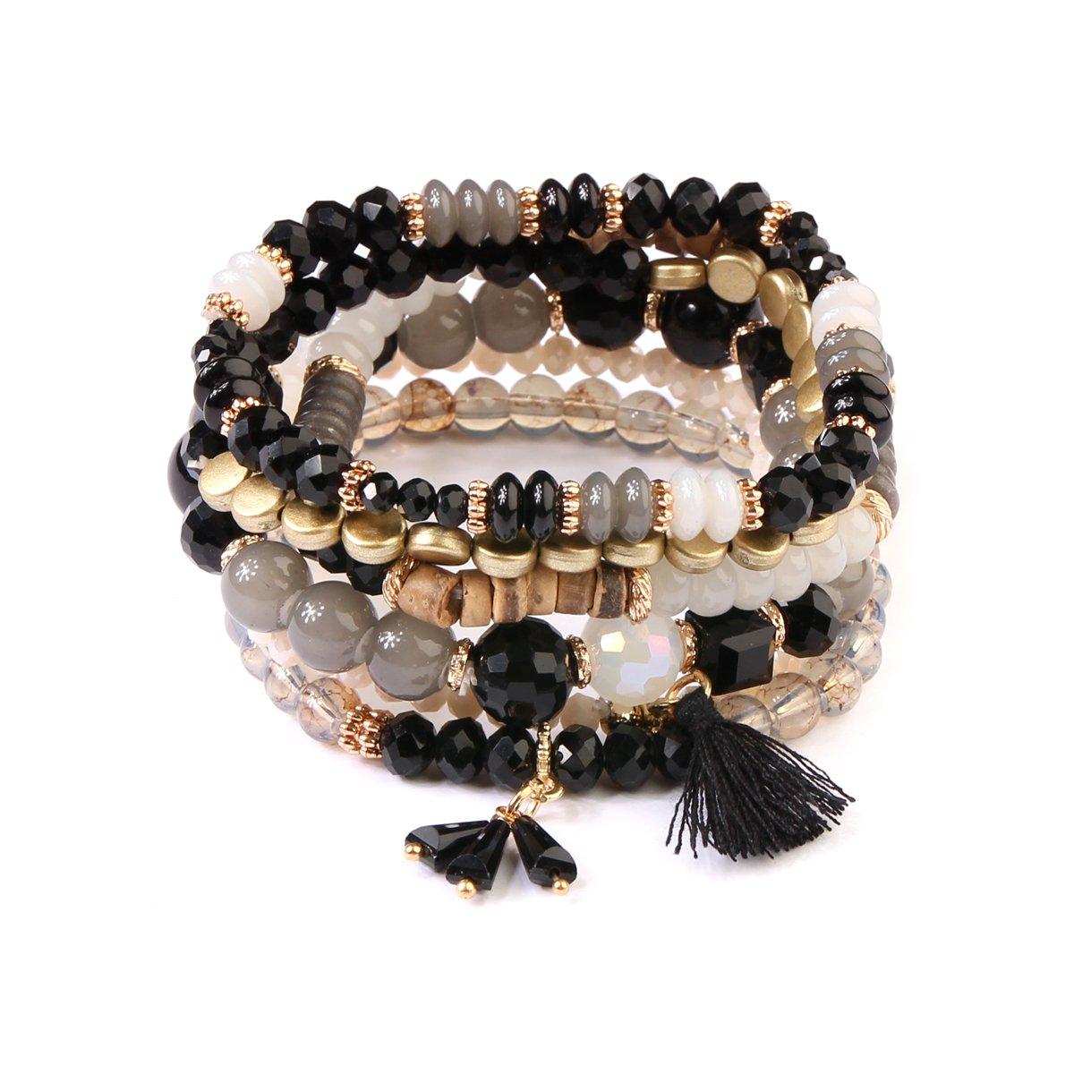 kpajewelry KPA Fashion Women's Multi Bead Tassel Stretch Bracelet - Colorful Beaded Layering Statement Bangles (Black)