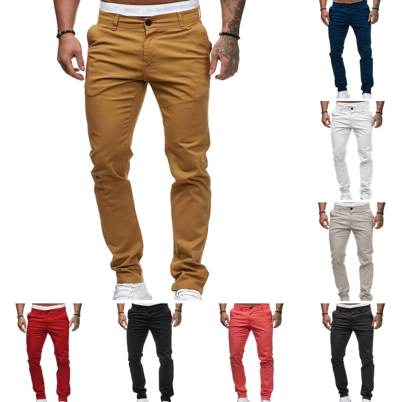 vOPRvana1n Men Casual Pants Fashion Solid Color Pocket Straight Slim Fit Zipper Button Long Trousers Navy Blue XL