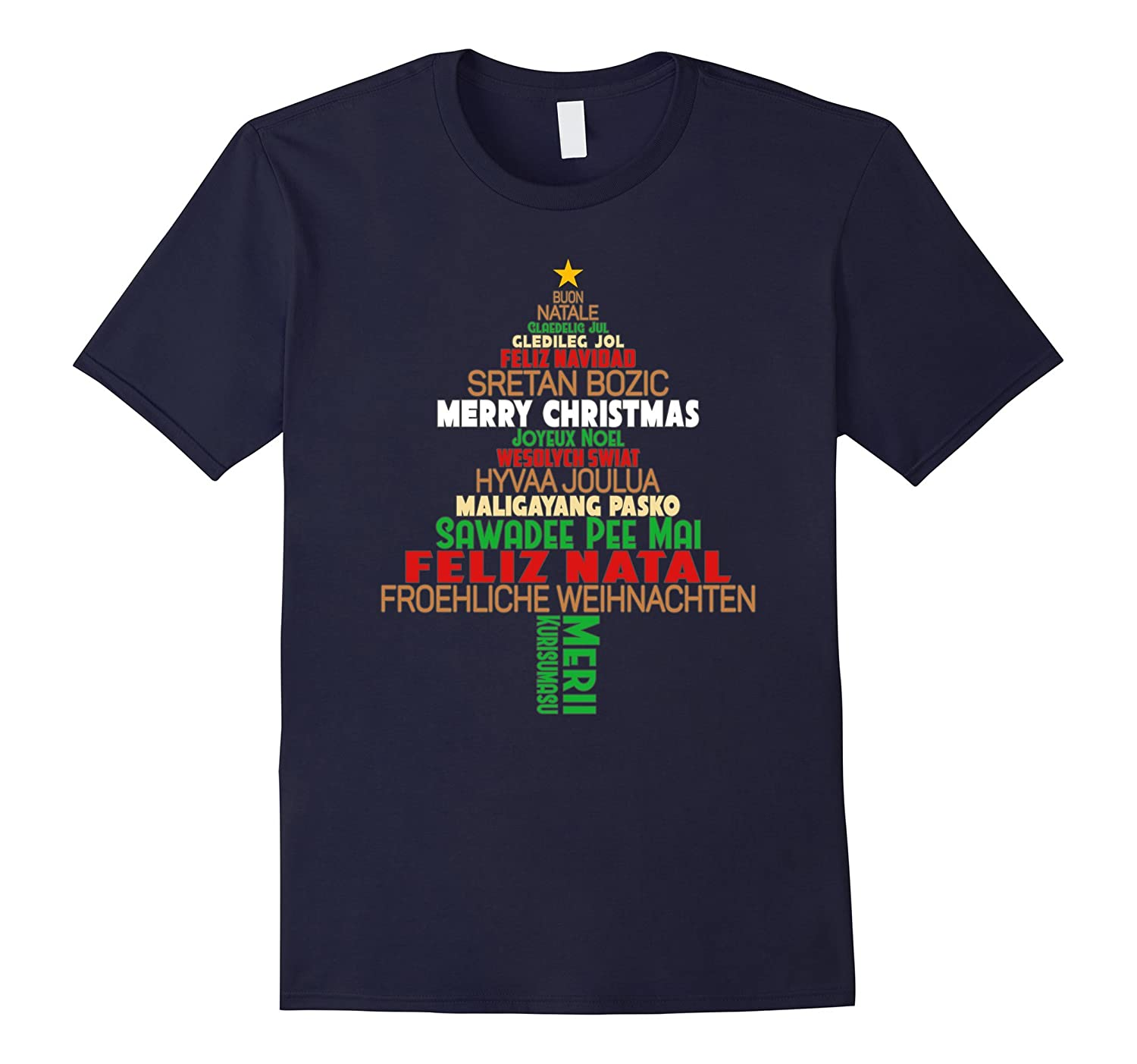 Merry Christmas Different Languages Tshirt Around The World-T-Shirt
