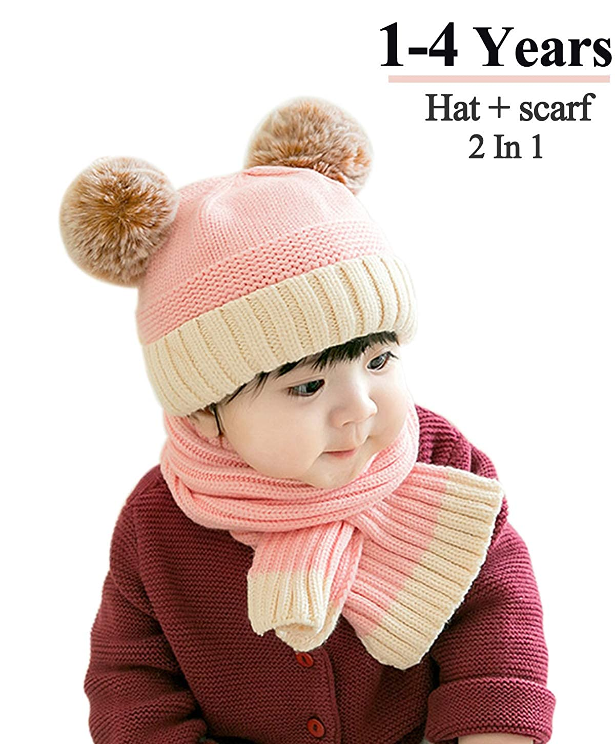 Baby Toddler Winter Warm Beanie and Scarf set Thick Stretchy Warm Lined Lovely Knitted