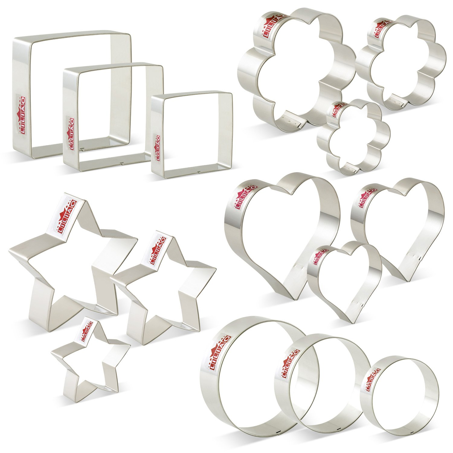 LILIAO Basic Cookie Cutters Set Round Biscuit Bread Fondant Cutters - 15 Piece - Stars, Hearts, Circles(Round), Flowers, Squares - Stainless Steel