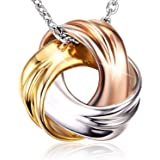 18K White Gold and Rose Gold Plated 925 Sterling Silver Necklace SPIRAL GALAXY Pendant for Women Ladies Girls Females…