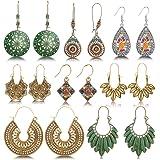 hefanny 8 Pairs Christmas Vintage Bohemian Drop Dangle Earrings National Style Hollow Waterdrop Petal Leaf Beaded Statement E