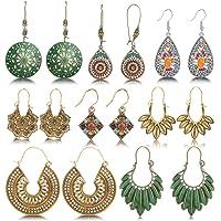 hefanny 8 Pairs Christmas Vintage Bohemian Drop Dangle Earrings National Style Hollow Waterdrop Petal Leaf Beaded…