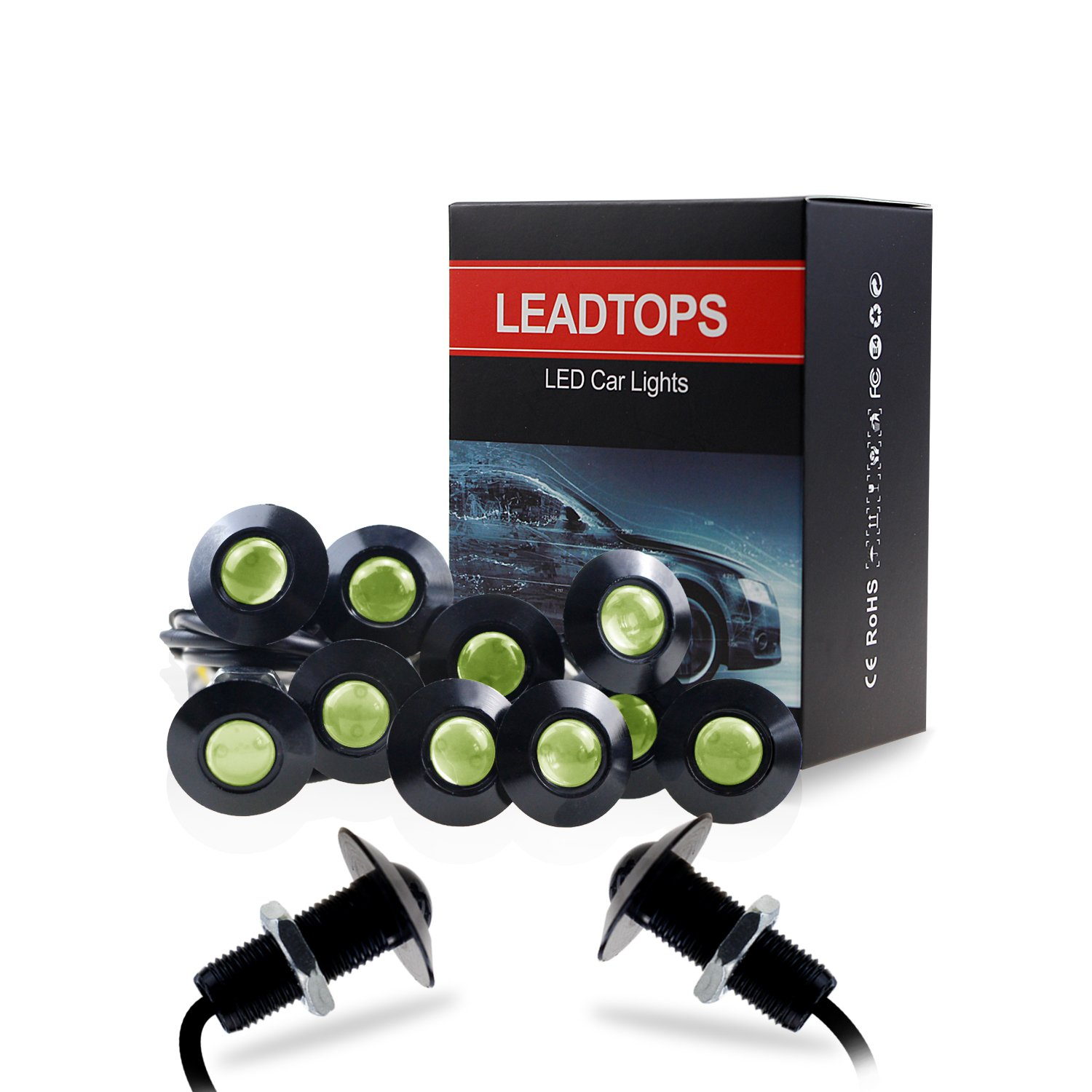LEADTOPS 10-pack DIY 12V Ultra thin 23mm Eagle Eye Fog Tail DRL Daytime Running Lights (Red, Black) LEDTOP CO. LIMITED