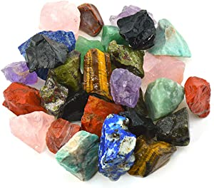 """Unihom 1 lb Bulk Rough Madagascar Stones Mix - Large 1"""" Natural Raw Stones Crystal for Tumbling, Cabbing, Fountain Rocks, Decoration,Polishing, Wire Wrapping, Wicca & Reiki Crystal Healing"""