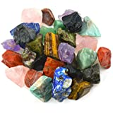 """Unihom 3 lbs Bulk Rough Madagascar Stones Mix - Large 1"""" Natural Raw Stones Crystal for Tumbling, Cabbing, Fountain Rocks, Decoration,Polishing, Wire Wrapping, Wicca & Reiki Crystal Healing"""