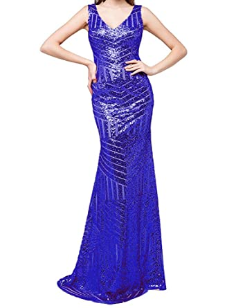 JYDress Womens Sequin Prom Ball Dresses Mermaid V-Neck Formal Party Gown