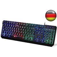 KLIM Chroma Tastatur Gamer QWERTZ DEUTSCH mit USB Kabel – Hohe Leistung – Bunte Beleuchtung (Schwarz) RGB PC Windows, Mac PS4 2019 Version