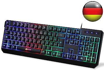 KLIM Chroma Tastatur Gamer QWERTZ Deutsch mit USB Kabel: Amazon.de ...