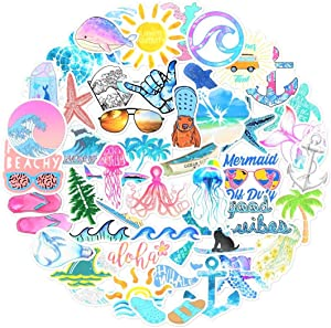 66 pcs hydroflask Stickers, Ocean Beach Themed Stickers for Laptop, Water Bottle, Hydro flasks, Wall, Bumper, Computer, Waterproof, VSCO Girl Stuff, Cute vsco Stickers for Teen Girls