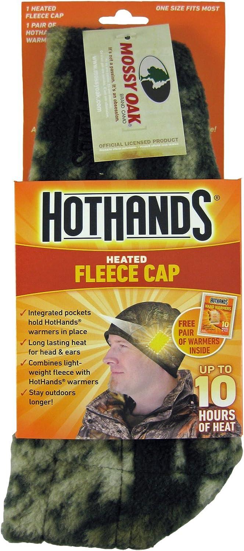 HotHands Heated Fleece Hat Cap Mossy Oak Camo w 2 Hand Warmers *SHIPS FAST* NEW