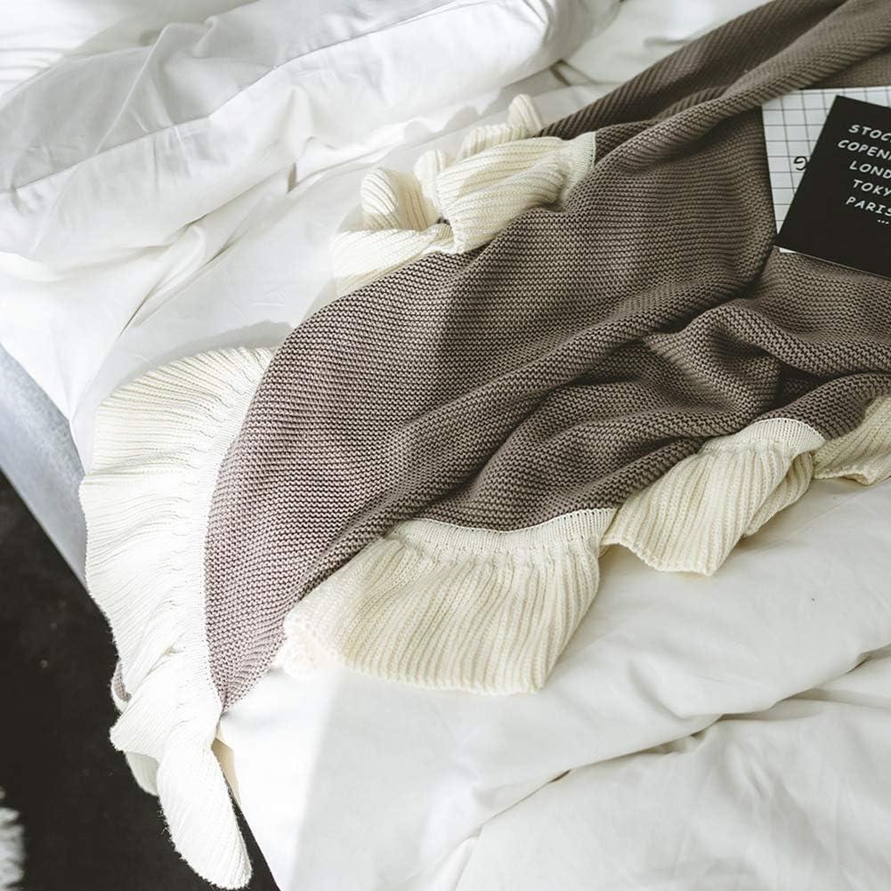 Youlubedding 100% de algodón de Punto Manta, Simple Solid Edge Color Blanco Ministerio del Interior de la Siesta Rotura Manta de múltiples Funciones,Marrón