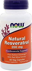 NOW Supplements, Natural Resveratrol 200 mg with Red Wine Extract, 60 Veg Capsules