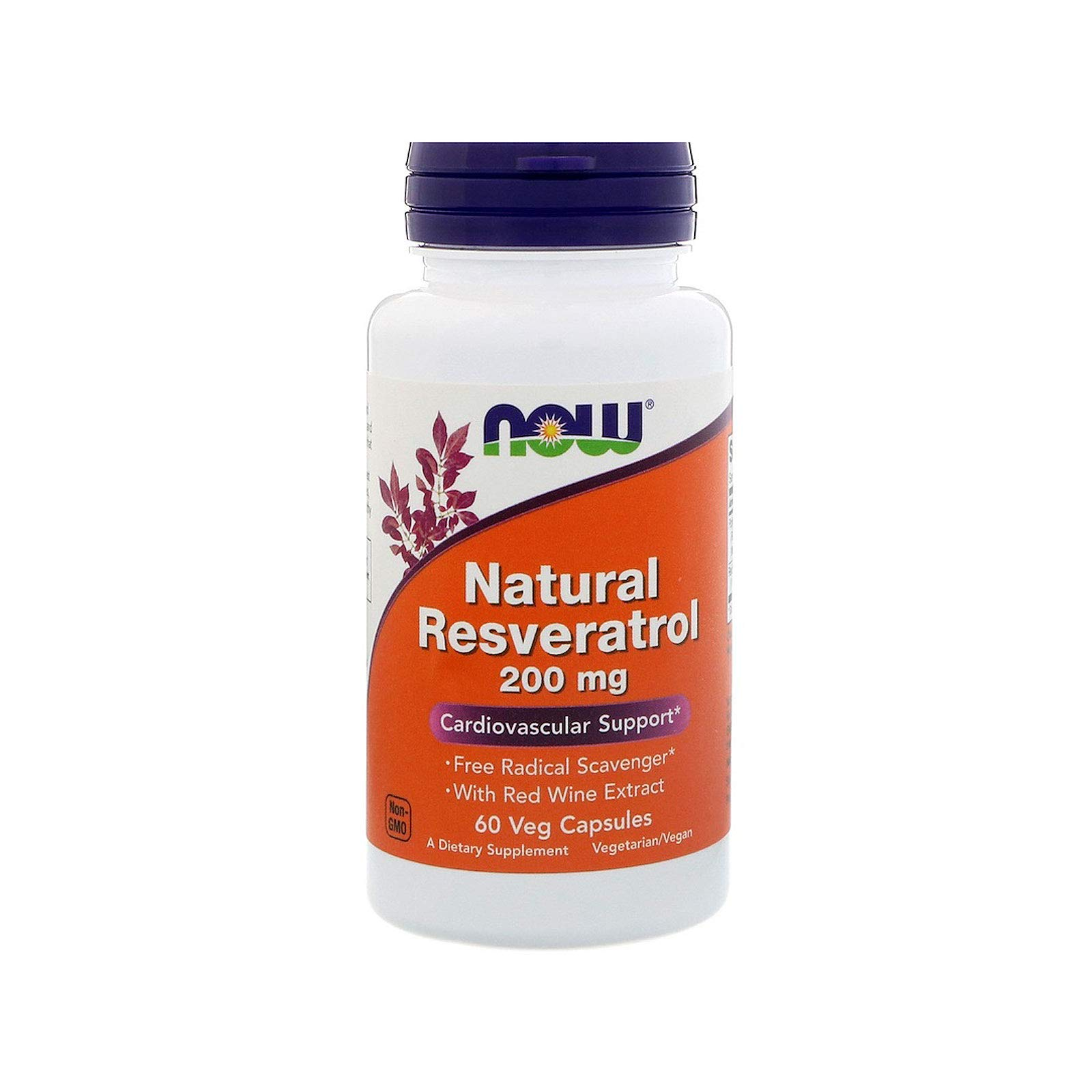 NOW Supplements, Natural Resveratrol 200 mg with Red Wine Extract, 60 Veg Capsules by NOW Foods