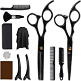 DigHealth 12 Pcs Hair Cutting Scissors Kit, Professional Hairdressing Scissors Kit with Stainless Steel Thinning Scissors, Co