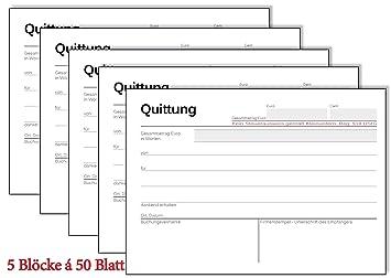 5x Quittungsblock Kleinunternehmer 19 á 50 Blatt A6 Amazonde