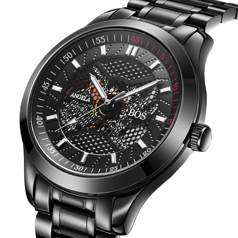 BOS Automatique auto-vent homme mÉcanique montre Étanche Squelette 3D cadran noir bracelet en acier inoxydable 9015