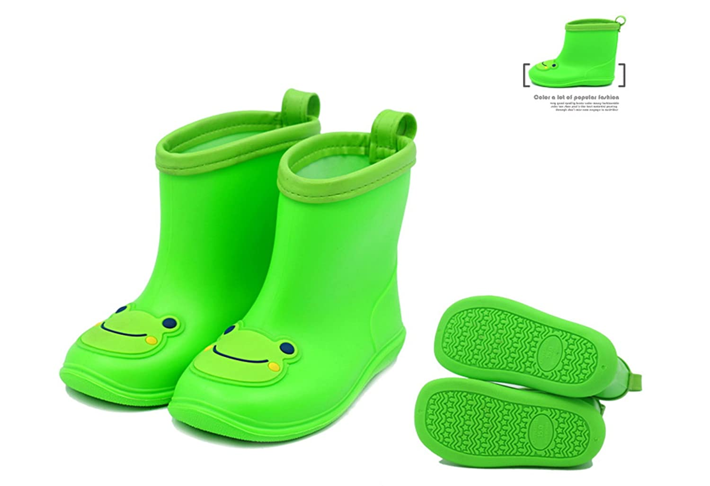 Chadstone Kids Cute Cartoon Rain Boots Toddler Boys Girls Waterproof Anti-skidding Rain Shoes Green