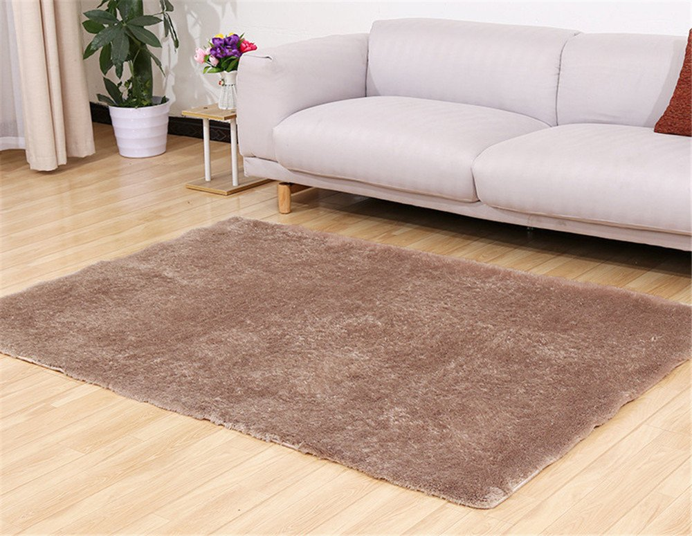 BowEaey Indoor Area Rugs Morden Cozy Shaggy Rug Soft Carpet Anti-Skid Floor Mats Decorative Pad for Parlor Living Room Kitchen Bedroom Bathroom Home Nursery Decor (Beige, 40x60cm)