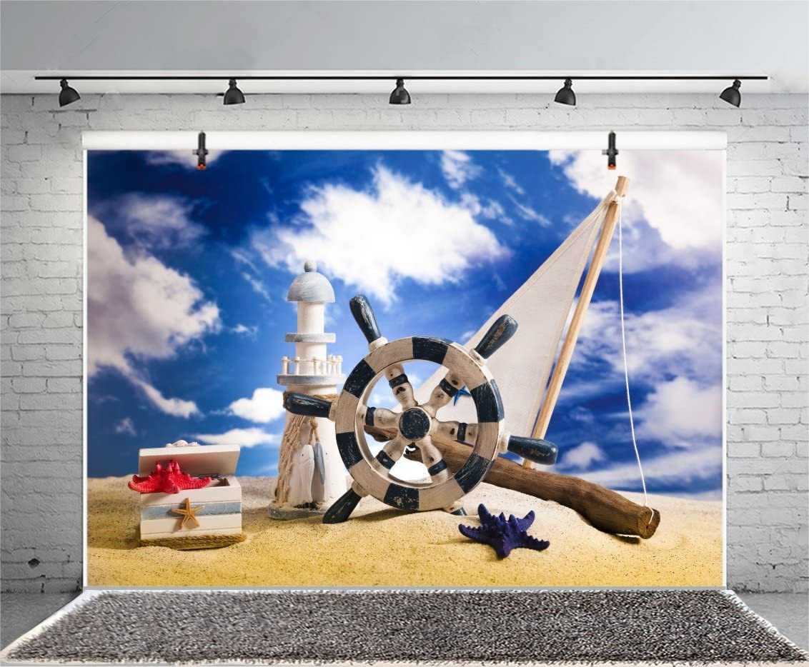 Summer Beach Sailboat Lighthouse Backdrop 10x6.5ft Polyester Photography Backgroud Tropical Landscape Blue Sky White Cloud Navigation Concept Marine Theme Children Party Summer