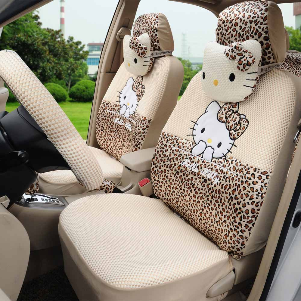 rmrp88 Hello Kitty Universal Car Five Seat Covers Full Set (Leopard)
