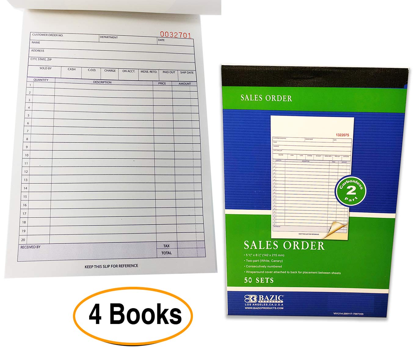 Sales Order Books Invoices | Receipts, 2-Part, Carbonless, White/Canary, 8.5 x 5.5 Inches, 50 Sets per Book, 4 Books 4 seasons