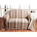 """Homescapes Funda Sofa de 230 x 260 cm color Beige en algodón de la coleccion """"Rayas"""""""