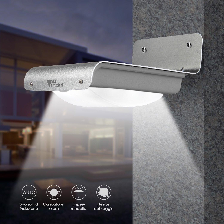 Inalámbrico Solar luces, amzdeal - LED de seguridad funciona con energía solar al aire libre jardín luz resistente al agua movimiento/Sensor de luz/Control ...