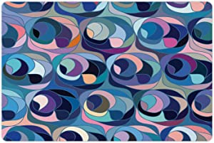Ambesonne Abstract Pet Mat for Food and Water, Motley Retro Colored Curvy Shapes Continuous Funky Tiles as Uneven Circular Forms, Non-Slip Rubber Mat for Dogs and Cats, 18