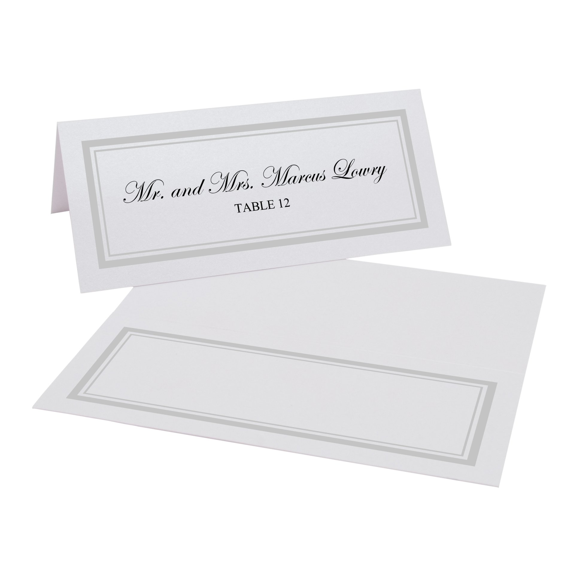 Documents and Designs Double Line Border Easy Print Place Cards (Select Color), Silver, Set of 150 (25 Sheets)