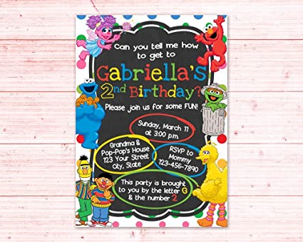 Image Unavailable Not Available For Color Olga212Patrick Sesame Street Birthday Invitation