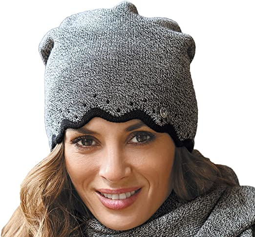 Vivisence Dame Winter M/ütze Kopfbedeckung Winter Warm Dick Gemustert 7017 In EU Hergestellt