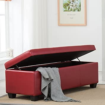 Belleze Red Ottoman Bench Top Storage Living Room Bed Home Leather  Rectangular  48u0026quot;inch