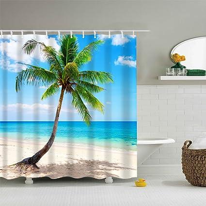 Creative coconut Bathroom Shower Curtain Waterproof Fabric w//12 Hooks 71*71inch