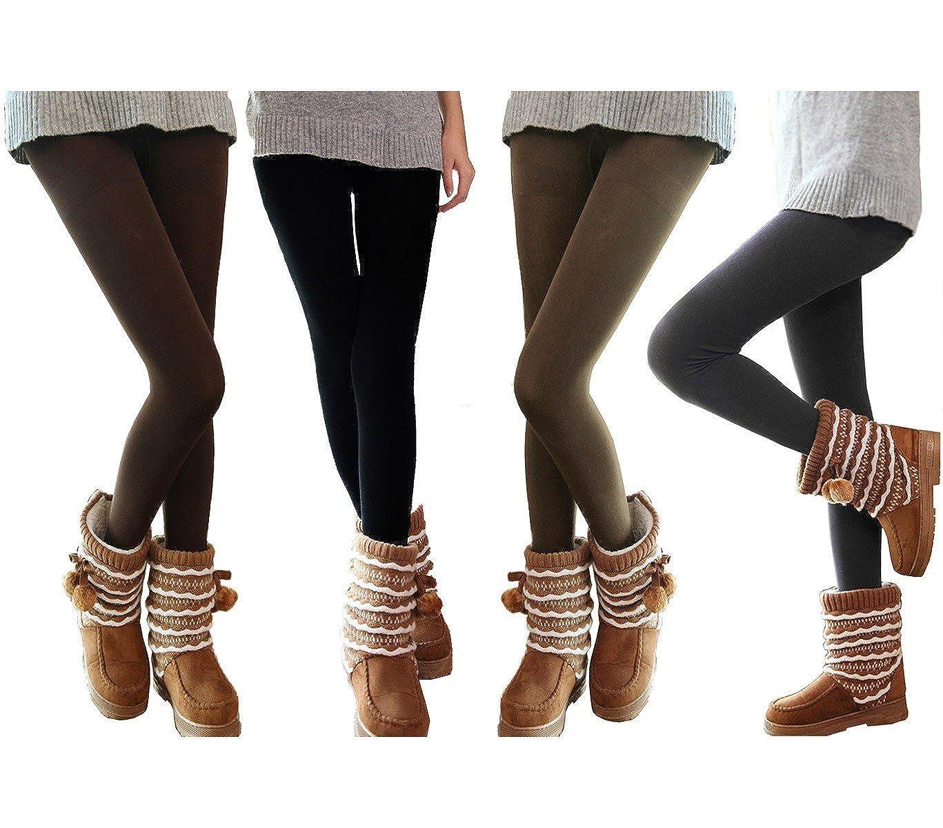 Set 5 leggings donna effetto termico felpato ass. SATURNO collant taglia unica. MEDIA WAVE store ®