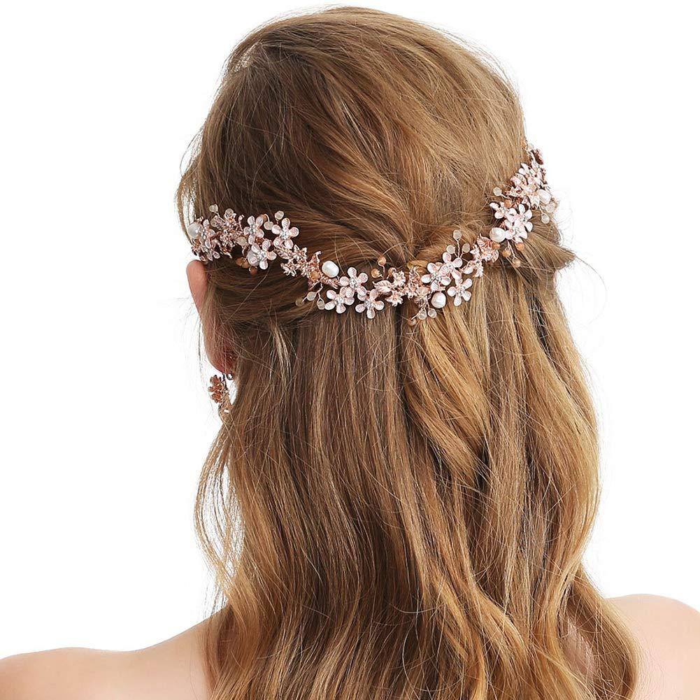 Amazon.com   SWEETV Rose Gold Wedding Headband-Bridal Headpiece Hair  Vine-Handmade Hair Accessories for Women Girls   Beauty 03f1085764a