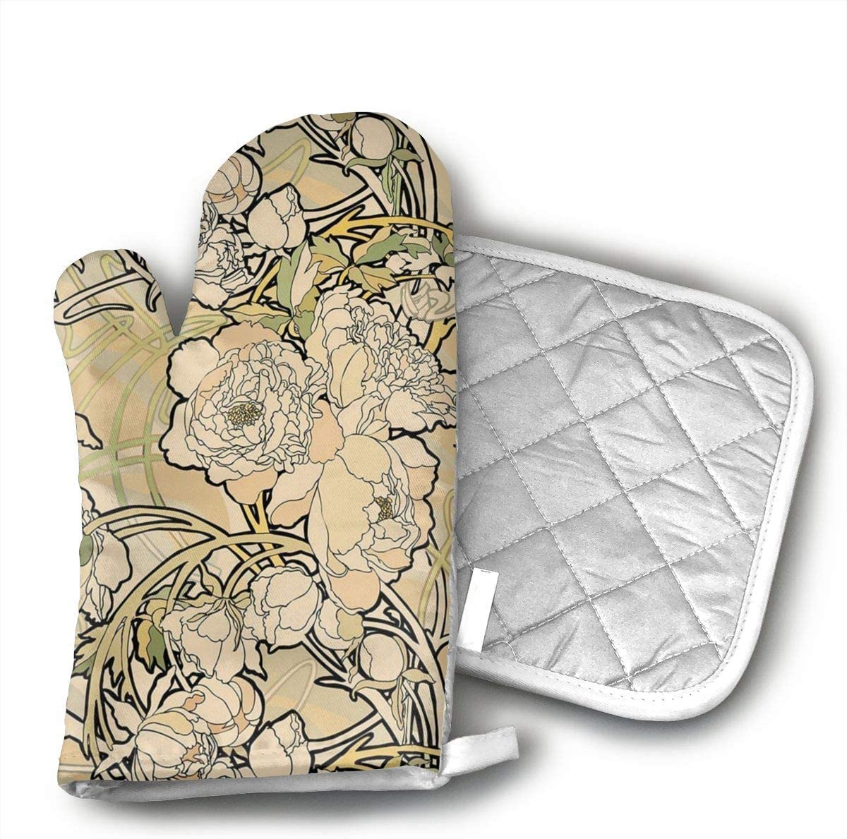 Kitchen Gloves for Grilling Machine Baking Grilling with Non-Slip Heat Resistant Mitts for Finger Hand Wrist Protection with Inner Lining Alphonse Mucha Oven Mitts and BBQ Gloves Pot Holders