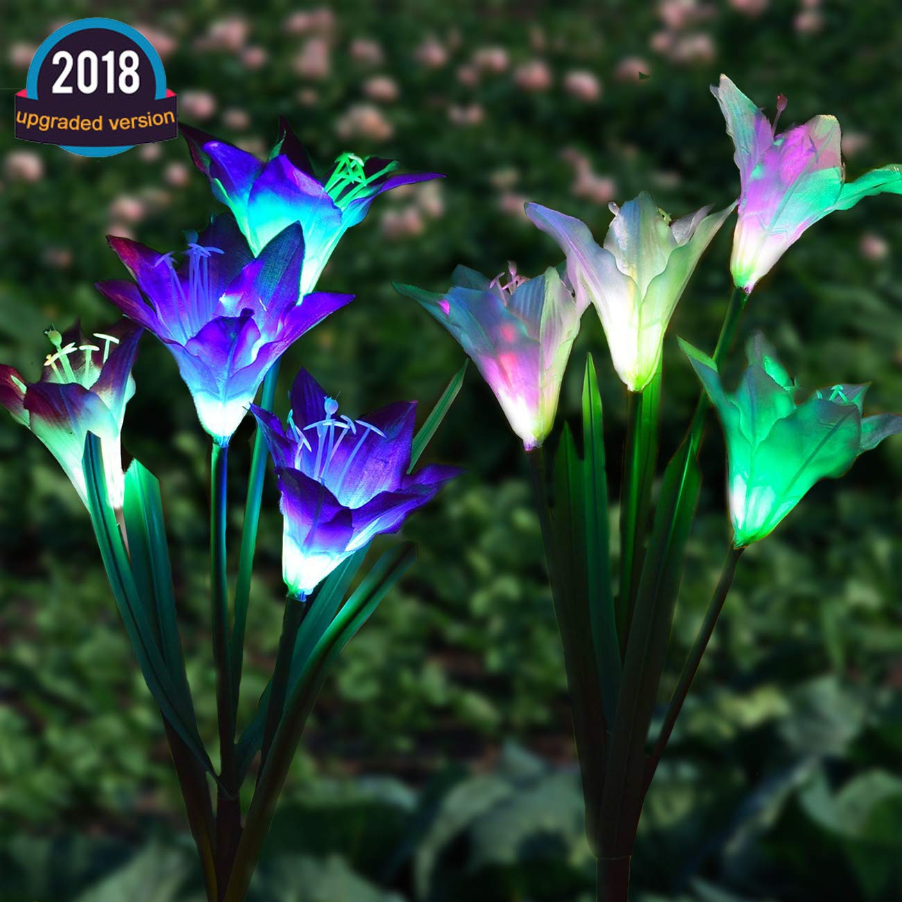 Semaco Solar Lights Outdoor New Upgraded Solar Garden Lights, Multi-Color Changing Lily Solar Flower Lights for Patio,Yard Decoration, Bigger Flower and Wider Solar Panel(Purple and White)