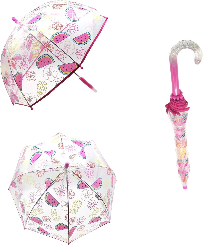 Laura Ashley Kids Cartoon Umbrella Pop up Umbrella Lightweight Windproof Clear Umbrella (Fruits)