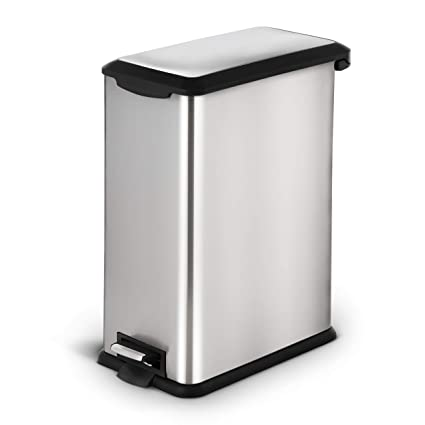 Home Zone Stainless Steel Kitchen Trash Can with Rectangular and Step Pedal  | 45 Liter / 12 Gallon Storage with Removable Plastic Trash Bin Liner, ...
