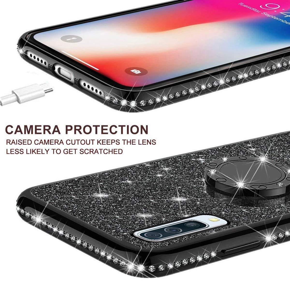 Herbests Kompatibel mit Samsung Galaxy A50 H/ülle Glitzer M/ädchen Schuzh/ülle Bling Glitzer Strass Diamant Transparent TPU Silikon H/ülle Handyh/ülle Tasche Ring Halter St/änder,Schwarz