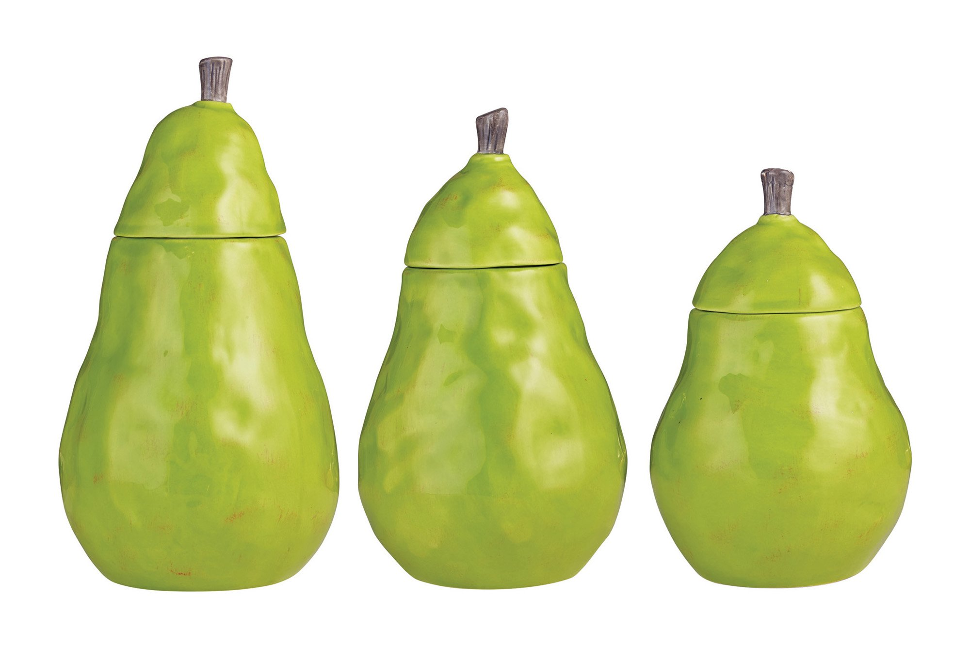 Green Pear Shaped Stoneware Canister Set by Rae Dunn