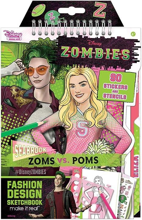 Amazon Com Make It Real Cuaderno De Bocetos De Diseno De Moda De Disney Zombies Diseno De Moda Inspirado En Disney Libro Para Colorear Para Ninas Incluye Paginas De Bocetos Addison Y
