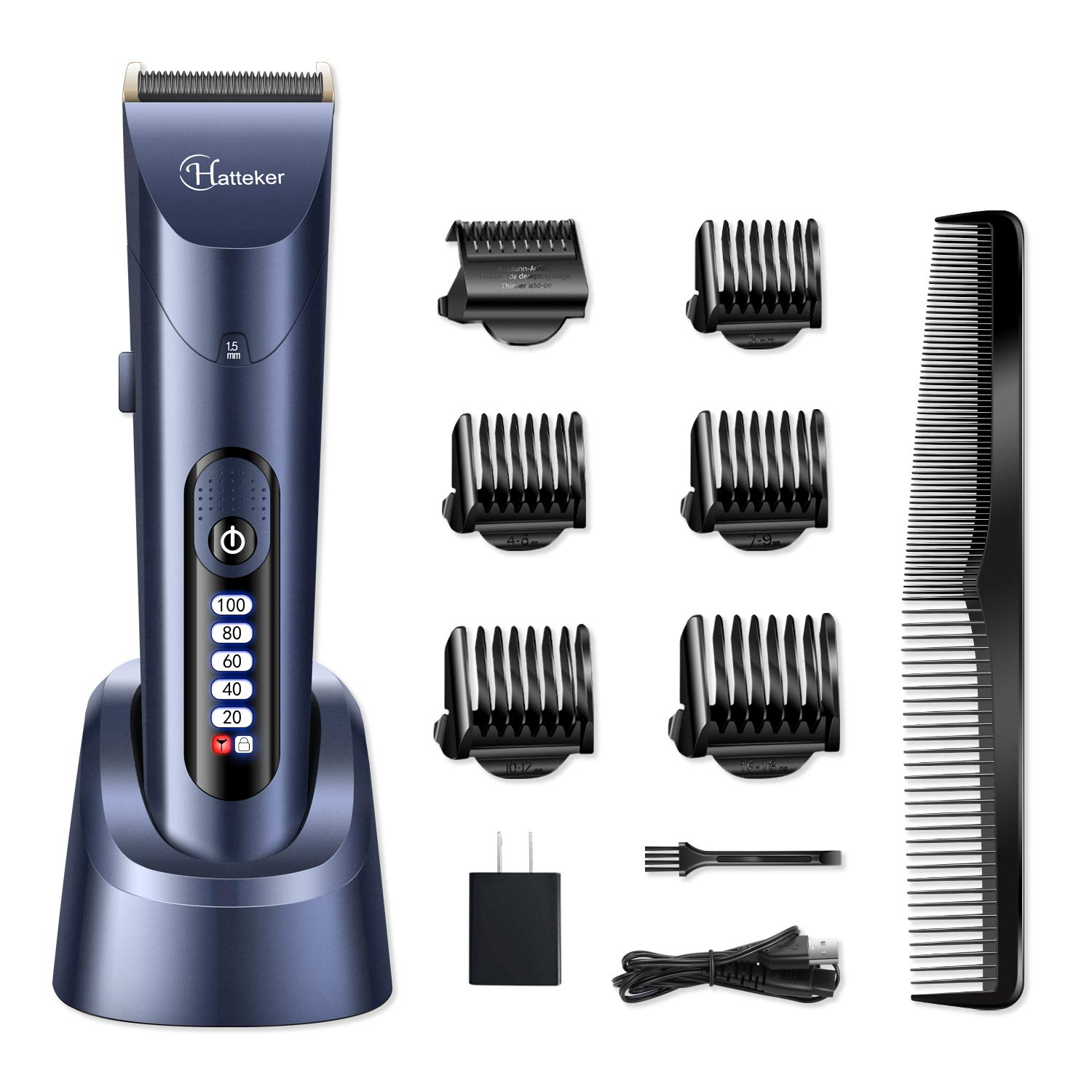HATTEKER Hair Clippers for Men Cordless Hair Trimmer Beard Trimmer Hair Cutting Kit Waterproof Rechargeable LED Display With Charging Dock by Hatteker
