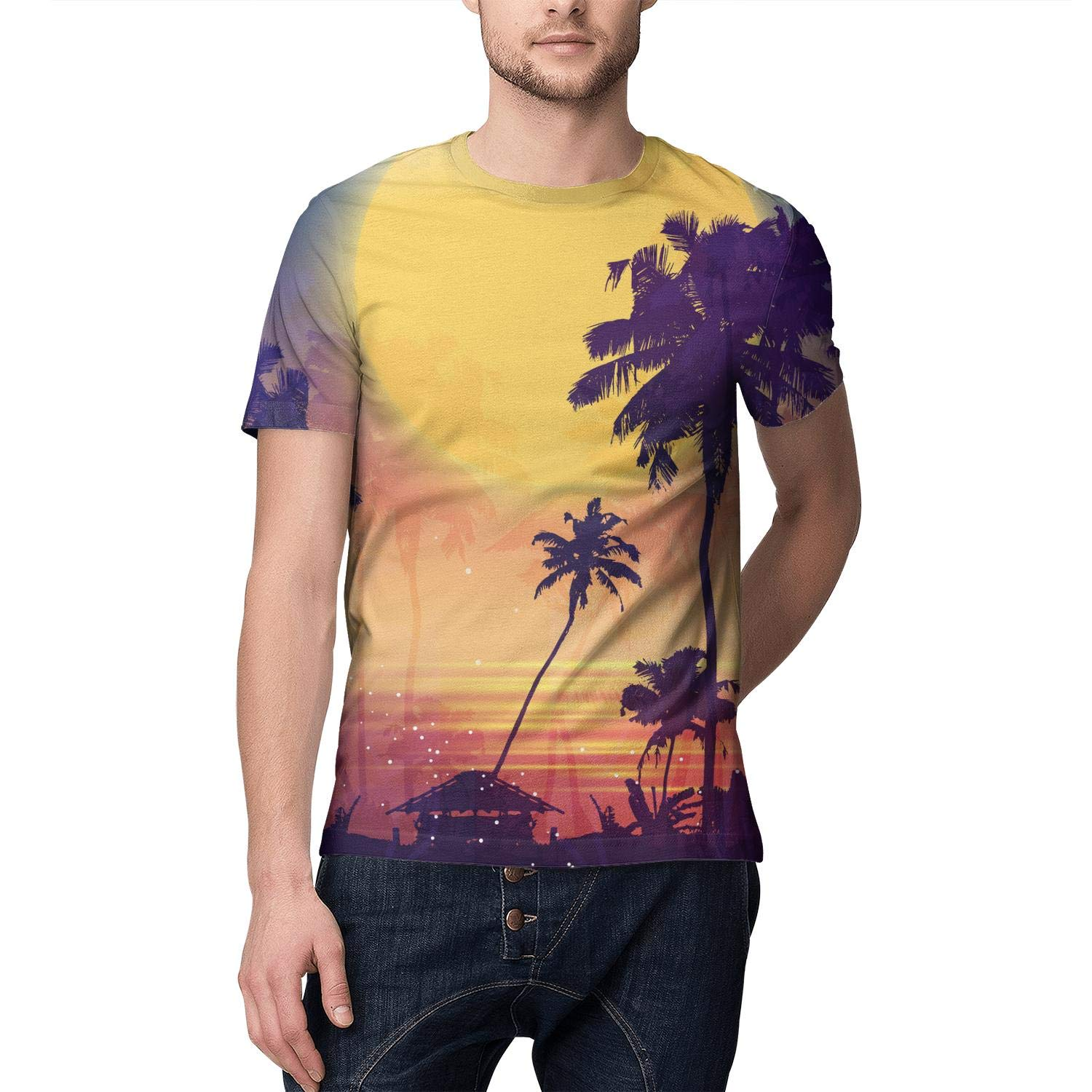 3D Print Man T Shirt Vintage ComfortSoft Sunset Palm Tree Painting Short Sleeve Shirts