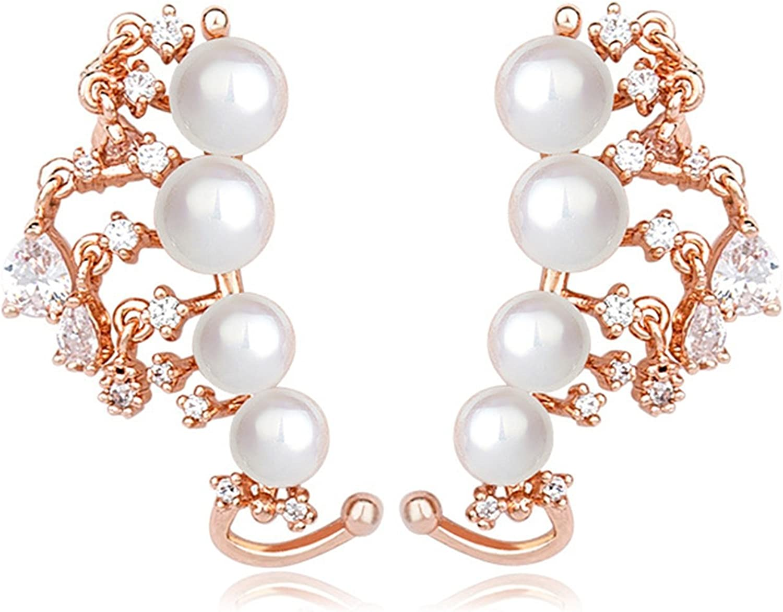 Beydodo Pendientes Chapado en Oro Pendientes Perlas Mujer Pendientes de Mujer Pendientes Cristal Rosa Pendientes Oro Rosa